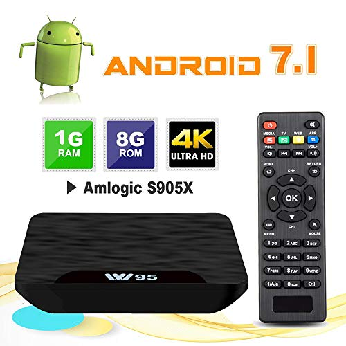 TV Box Android 7.1 - VIDEN W1 Smart TV Box Amlogic Quad-Core, 1GB RAM & 8GB ROM, Video 4K UHD H.265, 2 Porte USB, HDMI, WiFi Web TV Box