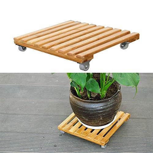cheerfulus Plataforma Cuadrada de Madera Caddy Dolly con Ruedas Ruedas de Bloqueo para Servicio Pesado Soporte de Planta de jardín con Rodillo, 12 Pulgadas