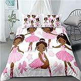 Pink African American Ballerina Bedding Set Full for Gilrs Kids ,3Piece CuteBallet Princess DancerDuvet Cover,Black Girls Comforter Cover Set Including(1Duvet Cover+2 Pillowcases )
