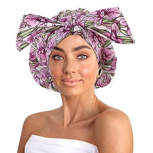 Waterproof Shower Cap for Women, Oversized Large Shower Cap for Women Long Hair, Washable Reusable Shower Caps -Cute Shower Cap for Spa, Home Use, Hotel or Hair Salon (Pinky purple)