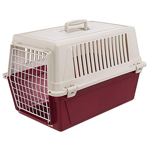 Ferplast transportbox voor kleine honden en katten Atlas 30 EL, transportbox voor dieren, robuust kunststof, deur van kunststof gecoat staal, ventilatierooster, 40 x 60 x 38 cm, bordeaux