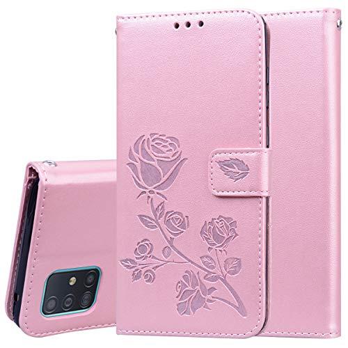 Miagon Rose Blume Hülle für Samsung Galaxy Note 10 Lite,PU Leder Flip Schutzhülle Handy Tasche Wallet Case Cover Ständer mit Magnetverschluss,Rose Gold