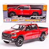 2019 RAM 1500 Rebel Crew Cab Pickup Truck Red 1/24 Diecast Model Car by Motormax 79358