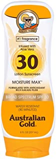 Australian Gold Sunscreen Lotion, Moisture Max, Infused with Aloe Vera, Broad Spectrum, Water Resistant, SPF 30, 8 Ounce