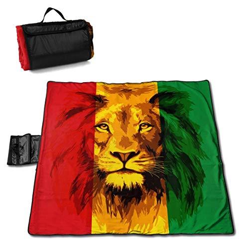 End Nazi Reggae Rasta Flagge Lion Beach Decke Picknickmatte Extra große wasserdichte Polstermatten Kompakte Einkaufstasche mit Riemen