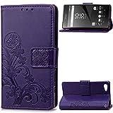 JiuRui-504 Kuaijiexiaopu Fundas para Sony Xperia Z5 Compact, Portada E5823 Funda de Cuero PU para Sony Xperia Z5 Compact Z5MINI (Color : Purple)
