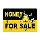 Dozili - Cartel de Honey para la Venta de Metal, Aluminio, 20,32 x 30,48 cm, diseño de Abeja de Miel