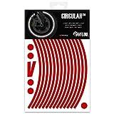 VFLUO Circular, Kit de Cintas, Rayas Retro Reflectantes para Llantas de Moto (1 Rueda), 3M Technology, Anchura Normal : 7mm, Rojo Rubi