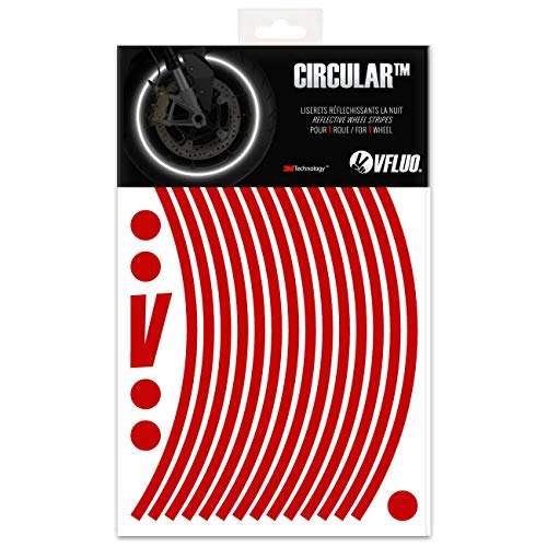 VFLUO Circular™, Kit de Cintas, Rayas Retro Reflectantes para Llantas de Moto (1 Rueda), 3M Technology™, Anchura Normal : 7mm, Rojo Rubi