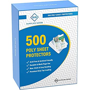 500 Page Protectors 8.5 x 11 Top Loading / 3 Hole Design Sheet Protectors Archival Safe for Photos or Printed Copy Holds Multiple Sheets