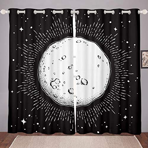 Erosebridal Rose Water Drops Curtain Panels, Fantasy Splash Stars Window Curtains, Microscope Window Treatments, Glowing Window Drapes for Kids Boys Girls 104W84L Dorm Room Decor White Black