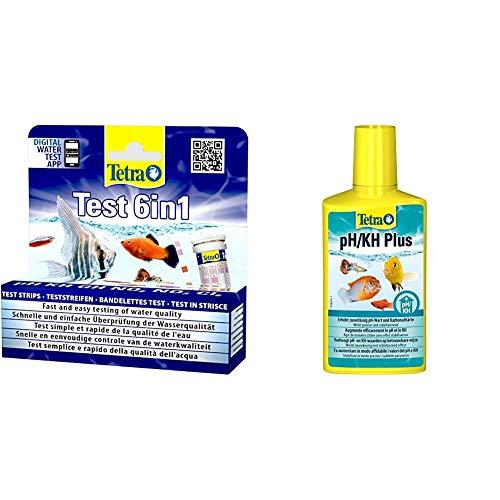 Tetra Test 6in1 Wassertest, schnelle und einfache Überprüfung der Wasserqualität, 1 Dose & PH/KH Plus, stabilisiert den pH-Wert und verhindert Säuresturz, für Einstellung der Karbonathärte, 250 ml