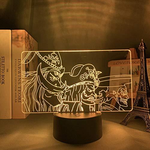 Lámpara de ilusión 3D D Roger animeSeven atmósfera de colores Regalo decorativo de Navidad Dormitorio de bebé Decoración de cabecera Luz-16 color remote control