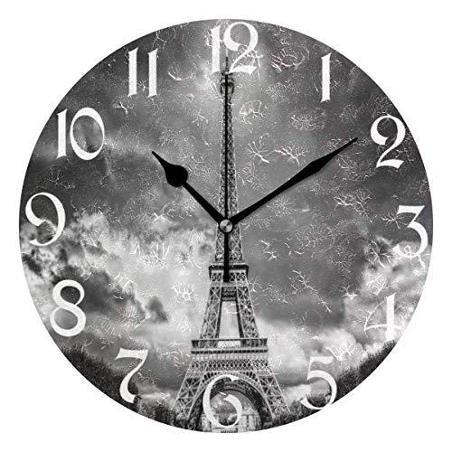 Jacque Dusk Reloj de Pared Moderno,Torre Eiffel París Francia Negro,Grandes Decorativos Silencioso Reloj de Cuarzo de Redondo No-Ticking para Sala de Estar,25cm diámetro