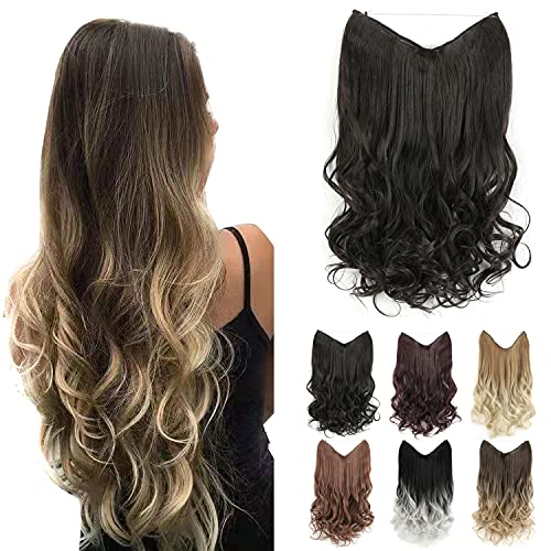 GIRLSHOW Halo Hair Extensions 24 Inch 4.8 Oz Curly Wavy Long Invisible Transparent Wire Adjustable Size Heat Resistance Fiber No Clip Hairpieces for Women (Natural Black -#113A, 24 Inch) -  MAYSA