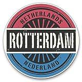 Impresionantes pegatinas de vinilo (juego de 2) 30 cm – Rotterdam Países Bajos bandera de los Países Bajos para portátiles, tabletas, equipaje, libros de chatarra, frigorífico, regalo genial #6048