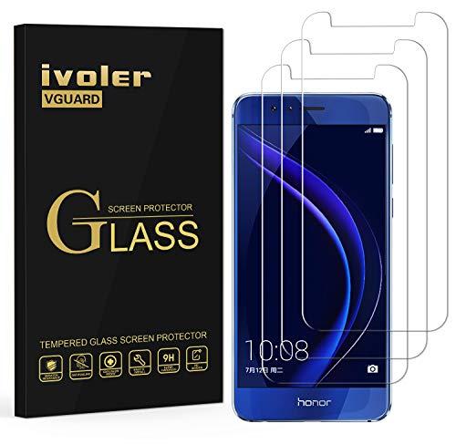 ivoler [3 Stücke] Panzerglas Schutzfolie für Huawei Honor 8, 9H Festigkeit, Anti- Kratzer, Bläschenfrei, [2.5D R&e Kante]