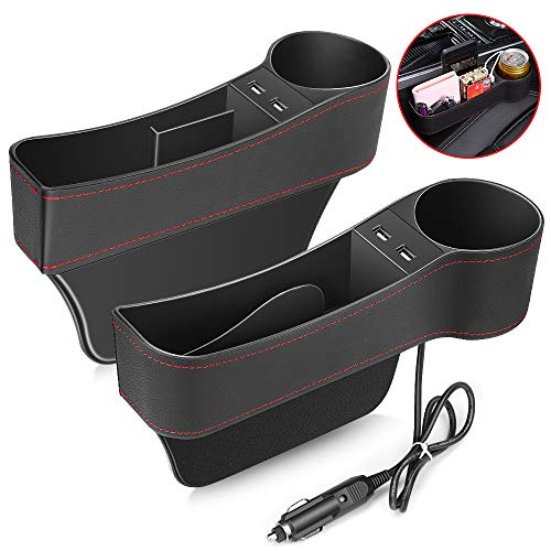 Ecshub Car Passenge Seat Storage Box with Water Cup Holder//Coin Collector//USB Wire Black Organizer Lighter Wire