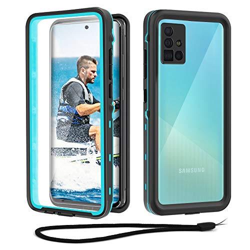 Beeasy Funda Samsung A51 4G Impermeable, IP68 Certificado Sumergible Carcasa,360 Grados Protección con Protector de Pantalla Incorporado,Militar Antigolpes Antichoque Estanca,Negro