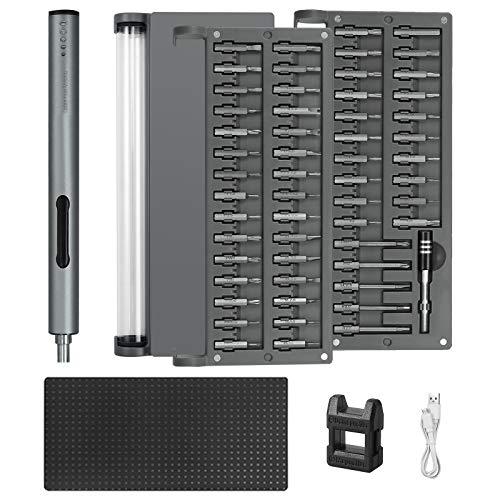CAMWAY Mini Elektro-Schraubendrehers, kleines Akku Schraubenzieher Set Schrauber Bit Set, Reparaturwerkzeug für Telefonuhr-Kamera-Laptop, mit USB, Verlängerungsstange