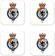 Jeffries Or Jeffreys Wales Family Crest Square Coasters Coat of Arms Coasters - Set of 4