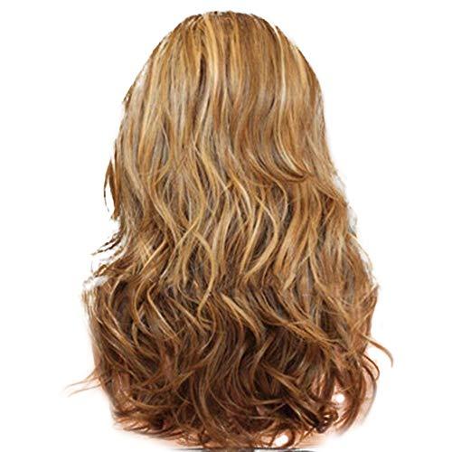 DolceTiger Perruque Femme Longue BoucléE Mode Lady Big Wave Gradation Doré Perruques Cheveux BoucléS Madame Longue Blonde Deguisement Pas Cher