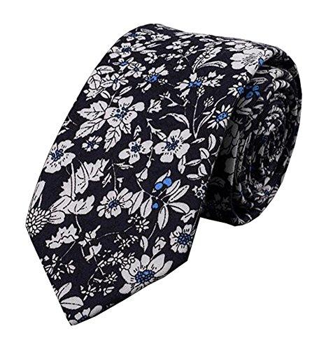 Black Temptation Fleurs Cravate de Motif de Cravates Skinny Cravates Hommes