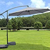 Greenbay 3m Banana Parasol - Crank Mechanism Sun Shade Canopy Cantilever Hanging Umbrella for Outdoor Garden Patio Summer Camping - Grey