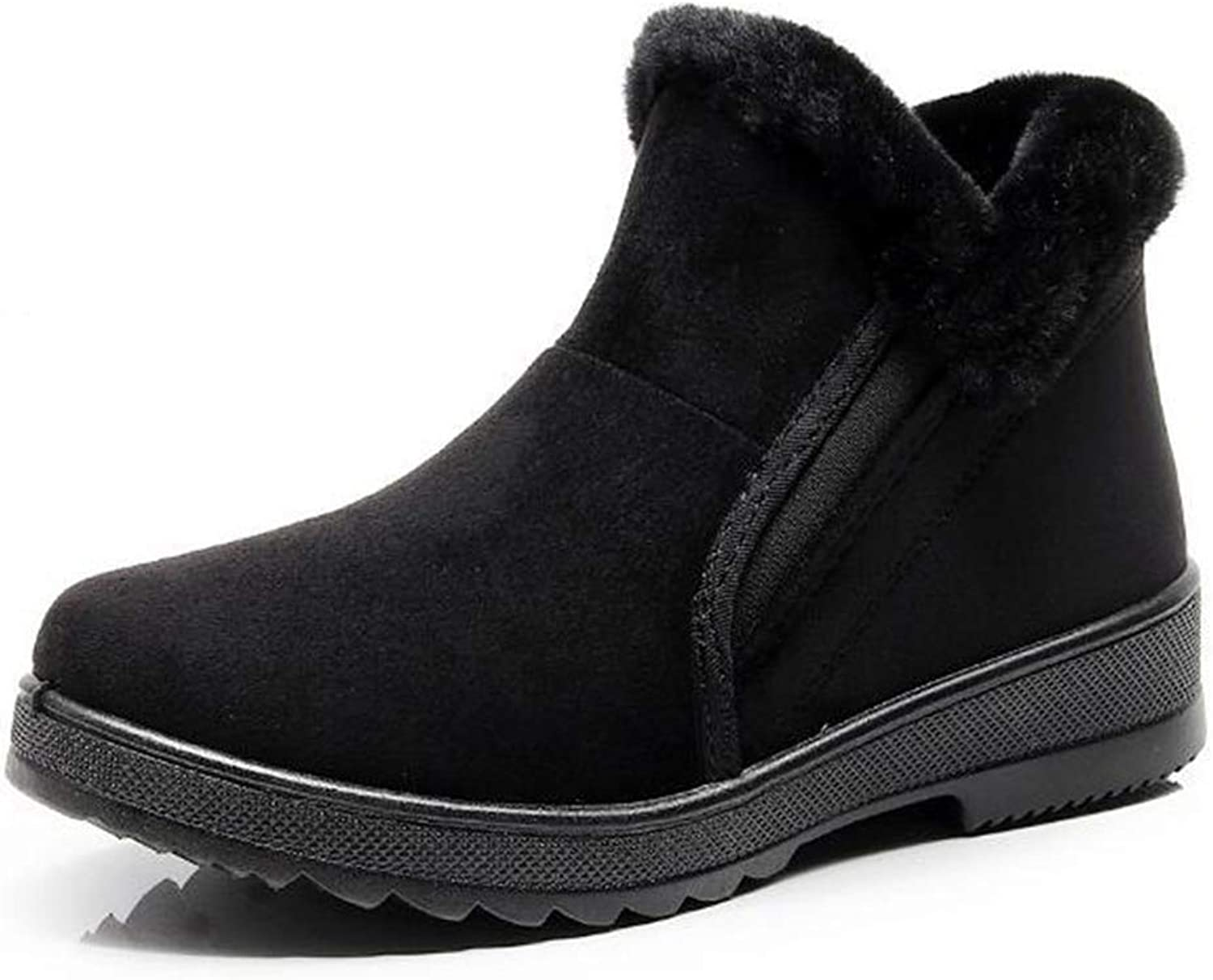 Zarbrina Womens Fur Lined Flat Platform Ankle Boots Winter Round Toe Rubber Sole Short Plush Slip On Warm Snow shoes