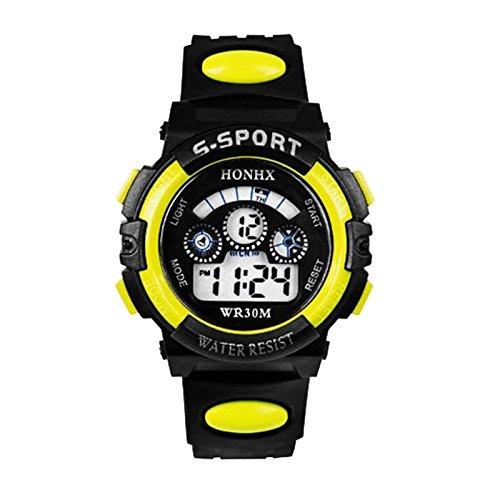 FUGL Multifunktions-Armbanduhr mit elektronischem Nachtlicht, Sport-Uhr wasserdicht, gelb, 141631_2-FGL159563