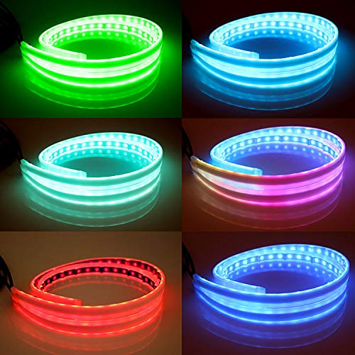 Flexible Car Led Light Strip DIBMS 24 Inches 60cm LED Multi Color Daytime Running Lights RGB Kit for Car Switchback Headlight Decorative Lamp Kits Turn Signal Tube Lights with Remote Control