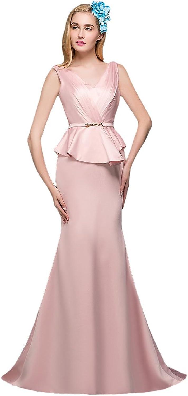 AK Beauty Women's Sleeveless Sashes Taffeta Sheath Long Evening Dress
