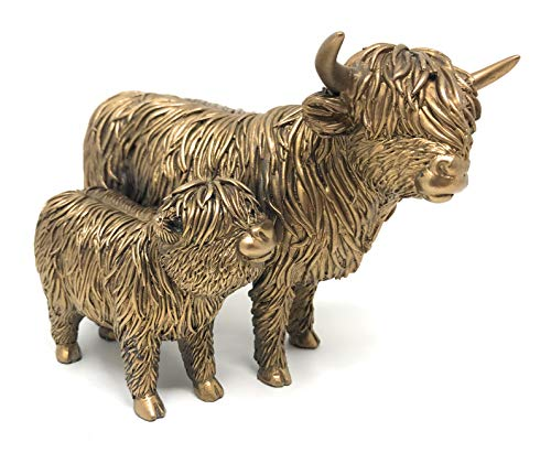 Leonardo Bronzed Highland Cow Mother & Calf ornament sculpture figure gift boxed