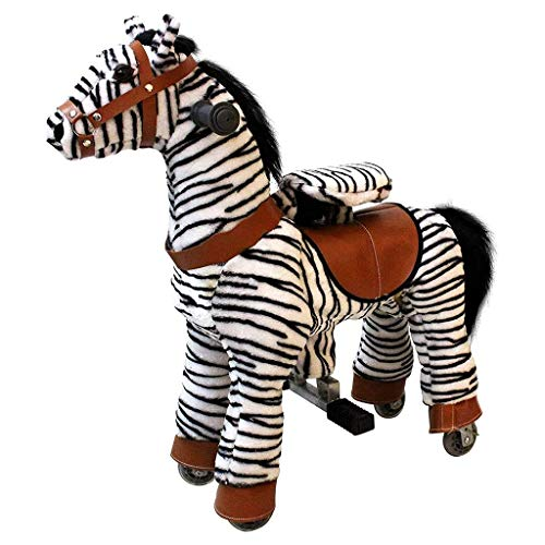 MBCL Cheval Mecanique Ride-on Zebra Non Batterie Non Électricité mécanique Cheval Jouet hue Animal Marche Poney en Peluche for âge 3-5 Ans de Petite Taille Peluche Animal