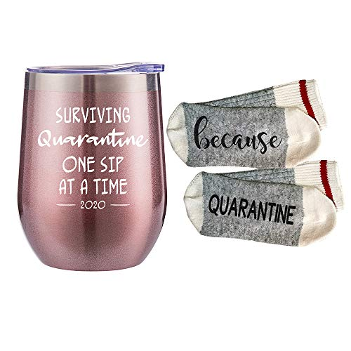 Funny Wine Tumbler-'Surviving Quarantine One Glass at A Time' - Quarantine Birthday Gifts