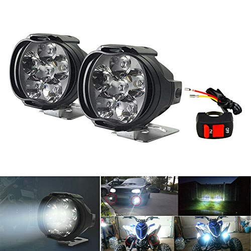 MOTOLIMO Faros delanteros LED universales para motocicleta, 6 ledes, luces antiniebla, luces auxiliares, luces diurnas, con interruptor, para triciclos y quads