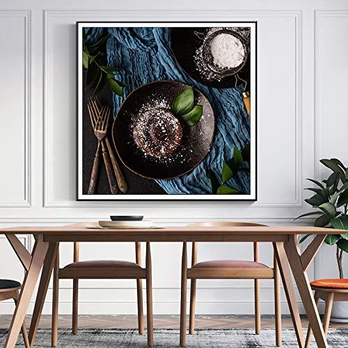 N / A Pintura sin Marco Delicioso Postre Pastel Imagen póster y Foto Arte de la Pared Lienzo Restaurante decoración del hogar ZGQ7576 60X60cm