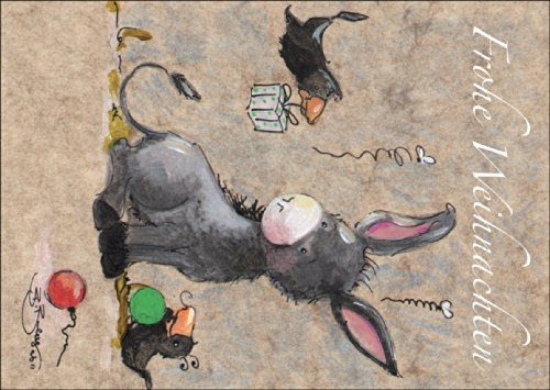 Schattige geïllustreerde kerstkaart met kleine ezel en vrienden: Vrolijk Kerstmis • Kerstwenskaarten set met envelop voor het feest van de liefde als cadeaukaart voor familie en vrienden.