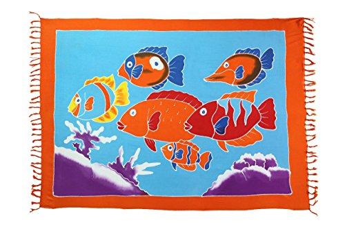 Ciffre Original Yoga Sarong Pareo Wickelrock Strandtuch Rund ca 170cm x 1110cm Handtuch Schal Kleid Wickeltuch Wickelkleid Kinder Traum - Fische Bunt