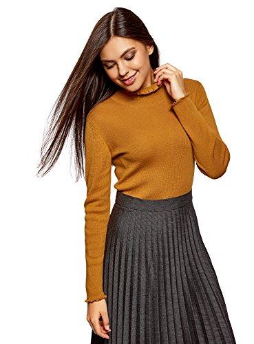 oodji Ultra Damen Pullover mit Auschnitt- und Ärmelverzierung, Orange, DE 34 / EU 36 / XS