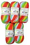 Sekerim Bebe Batik 4400 - 5 ovillos de lana para bebé (100 g, 500 g), multicolor