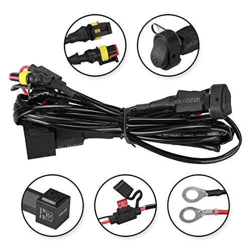 SUPAREE Câblage avec Commutateur pour Lampe de Brouillard LED 80W 12–24V CC DRL pour Moto R1200GS