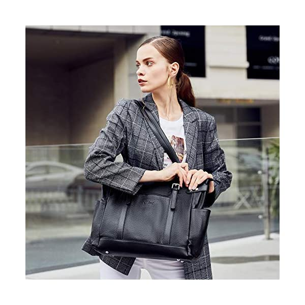 Laptop Totes for Women Genuine Leather Briefcase Large Ladies Shoulder Bag Work Handbags 15.6 Inch 2