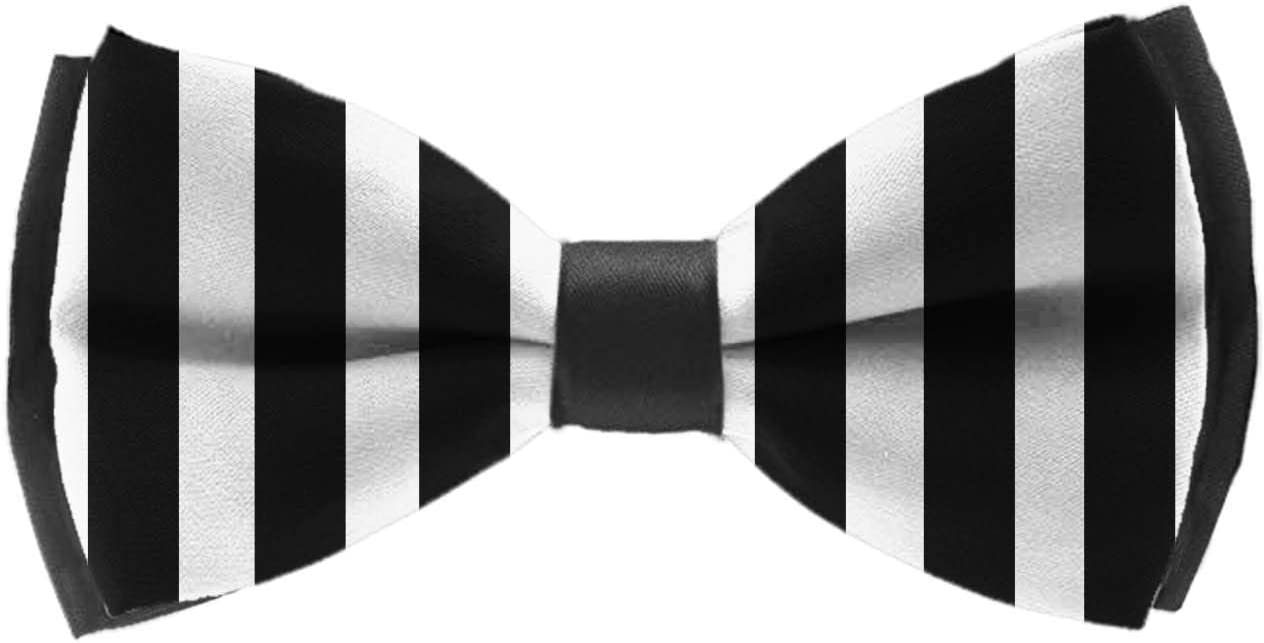 YongColer Adjustable Length Pre-Tied Bow Tie for Men & Boys Elegant Black White Striped Bowtie