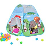 Play Tent for Kids,Princess Foldable Pop Up Castle Tent Cartoon Mushroom Children Playhouse for Girls/Boys/Infant Indoor and Outdoor Fun Best Christmas Gift