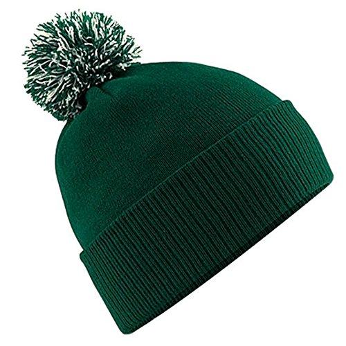Unisex Beechfield Snowstar Duo Winter Knit Beanie Bobble Hat Bottle Green /...