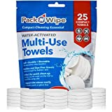 """Pack-n-Wipe Compressed Disposable Towels - Soft, Durable, Reusable Towels - Travel, Home, Outdoor Hand Towels - 8.5"""" x 11"""" - 25 Count (PNW-4)"""