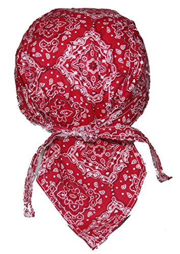 Set of 4 Red Paisley Food Service Skull Cap Head Wrap Do-rag Chef Cook Medical Field