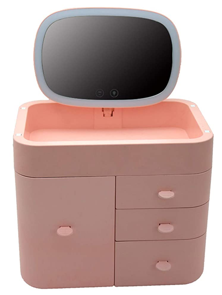 一形状テキスト多機能化粧品ケース 化粧箱化妆品收纳箱化粧品収納ボックス鏡付きLEDランプメイク鏡 リチウム電池式 持ち運びが簡単 大容量ストレージ
