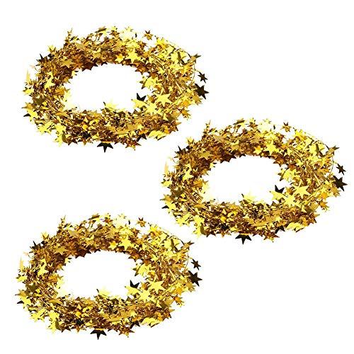 3Pcs 7,5 m kleine Sterne Girlande, Bunte kabelgebundene Girlande Einfach zu hängende Weihnachts Dekorationen Sterne Lametta Girlanden für Party bedarf und Dekorationen Festliche Verzierung Golden
